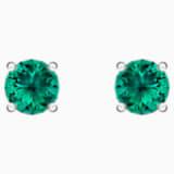 Attract-stud steekoorbellen, Groen, Rodium-verguld - Swarovski, 5512384