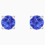 Attract Stud Pierced Earrings, Blue, Rhodium plated - Swarovski, 5512385