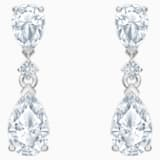 Palace Drop Pierced Earrings, White, Rhodium plated - Swarovski, 5512393