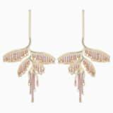 Tropical Leaf Ohrringe, mehrfarbig dunkel, Metallmix - Swarovski, 5512463