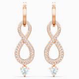 Swarovski Infinity 穿孔耳环, 白色, 镀玫瑰金色调 - Swarovski, 5512625