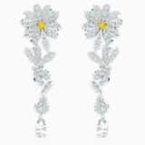 Eternal Flower Pierced Earrings, Yellow, Mixed metal finish - Swarovski, 5512655