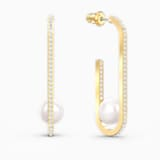 So Cool Pearl Серьги, Белый Кристалл, Покрытие оттенка золота - Swarovski, 5512736