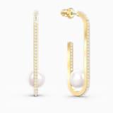 So Cool Pearl 穿孔耳環, 白色, 鍍金色色調 - Swarovski, 5512736