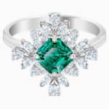 Palace Motif Ring, Green, Rhodium plated - Swarovski, 5513215