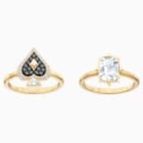 Tarot Magic 戒指套裝, 多色設計, 鍍金色色調 - Swarovski, 5513244