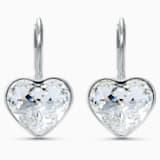 Bella Heart 穿孔耳环, 白色, 镀铑 - Swarovski, 5515191
