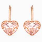 Náušnice Bella Heart, růžové, pozlacené růžovým zlatem - Swarovski, 5515192