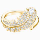Nice 圖形戒指, 白色, 鍍金色色調 - Swarovski, 5515755