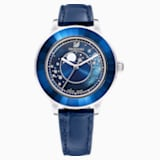 Octea Lux Moon Watch, Leather Strap, Dark blue, Stainless steel - Swarovski, 5516305