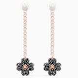 Latisha Pierced Earrings, Black, Rose-gold tone plated - Swarovski, 5516426