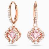 Kolczyki sztyftowe Swarovski Sparkling Dance Clover, różowe, w odcieniu różowego złota - Swarovski, 5516477