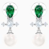 Perfection Drop Clip Earrings, Green, Rhodium plated - Swarovski, 5517735