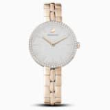 Cosmopolitan Часы, Металлический браслет, Белый Кристалл, PVD-покрытие золотого цвета оттенка шампанского - Swarovski, 5517794