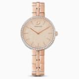 Ρολόι Cosmopolitan, μεταλλικό μπρασελέ, ροζ, PVD σε χρυσή ροζ απόχρωση - Swarovski, 5517800