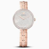 Cosmopolitan Watch, Metal bracelet, White, Rose-gold tone PVD - Swarovski, 5517803