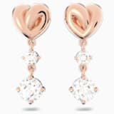 Kolczyki sztyftowe Lifelong Heart, białe, w odcieniu różowego złota - Swarovski, 5517942