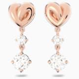 Lifelong Heart 穿孔耳環, 白色, 鍍玫瑰金色調 - Swarovski, 5517942