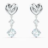 Τρυπητά σκουλαρίκια Lifelong Heart, λευκά, επιροδιωμένα - Swarovski, 5517943