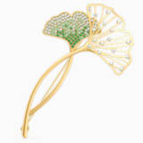 Stunning Ginko 胸針, 綠色, 鍍金色色調 - Swarovski, 5518174
