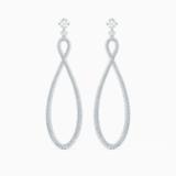 Τρυπητά σκουλαρίκια κρίκοι Swarovski Infinity, λευκά, επιροδιωμένα - Swarovski, 5518878