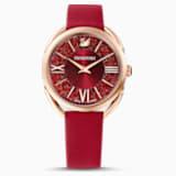 Montre Crystalline Glam, bracelet en cuir, rouge, PVD doré rose - Swarovski, 5519219