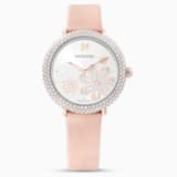 Crystal Frost Watch, Leather strap, Pink, Rose-gold tone PVD - Swarovski, 5519223