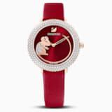 Crystal Frost 腕表, 真皮表带, 红色, 玫瑰金色调 PVD - Swarovski, 5519226