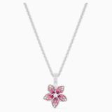 Tropical Flower 펜던트, 핑크, 로듐 플래팅 - Swarovski, 5519248