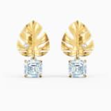 Τρυπητά σκουλαρίκια Tropical Leaf, λευκά, επιχρυσωμένα - Swarovski, 5519253