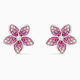 Tropical Flower Pierced Earrings, Pink, Rhodium plated - Swarovski, 5519254