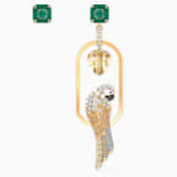 Tropical Parrot Pierced Earrings, Light multi-colored, Gold-tone plated - Swarovski, 5519255