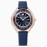 Ρολόι Crystalline Aura, δερμάτινο λουράκι, Μπλε, PVD σε χρυσή ροζ απόχρωση - Swarovski, 5519447