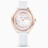 Crystalline Aura Saat, Deri kayış, Beyaz, Pembe altın rengi PVD - Swarovski, 5519453