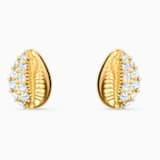 Shell Stud Pierced Earrings, White, Gold-tone plated - Swarovski, 5520471