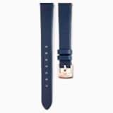 14mm Watch strap, Leather, Blue, Rose-gold tone plated - Swarovski, 5520532