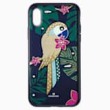 Pouzdro na chytrý telefon Tropical Parrot s ochranným okrajem, iPhone® X/XS, tmavé, vícebarevné - Swarovski, 5520550