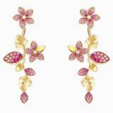 Τρυπητά σκουλαρίκια με τροπικά άνθη, ροζ, επιχρυσωμένα σε χρυσή απόχρωση - Swarovski, 5520648