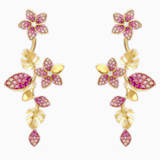Tropical Flower Серьги, Розовый Кристалл, Покрытие оттенка золота - Swarovski, 5520648