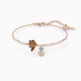 Line Friend Skate Bangle, Dark multi-colored, Rose-gold tone plated - Swarovski, 5520940