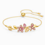 Kruhový náramek Tropical Flower, růžový, pozlacený - Swarovski, 5521058
