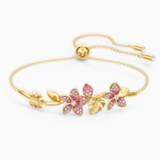 Tropical Flower 手镯, 粉红色, 镀金色调 - Swarovski, 5521058