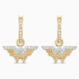 Fit Wonder Woman Hoop Pierced Earrings, Gold tone, Mixed metal finish - Swarovski, 5522301