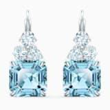 Sparkling 穿孔耳环, 海蓝色, 镀铑 - Swarovski, 5524139