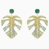 Tropical Leaf Pierced Earrings, Green, Gold-tone plated - Swarovski, 5525242