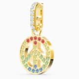 Swarovski Remix Collection Peace Charm, Light multi-colored, Gold-tone plated - Swarovski, 5526998