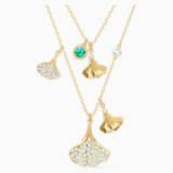 Collana a fili fissi Stunning Ginko, verde, placcato color oro - Swarovski, 5527079
