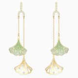 Stunning Ginko Mobile Pierced Earrings, Green, Gold-tone plated - Swarovski, 5527080