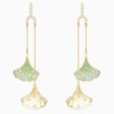 Stunning Ginko Mobile 穿孔耳环, 绿色, 镀金色调 - Swarovski, 5527080