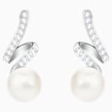Gabriella Pearl Pierced Earrings, White, Rhodium plated - Swarovski, 5528447